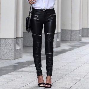 Zara faux leather moto pants skinny Sz L (ш20)